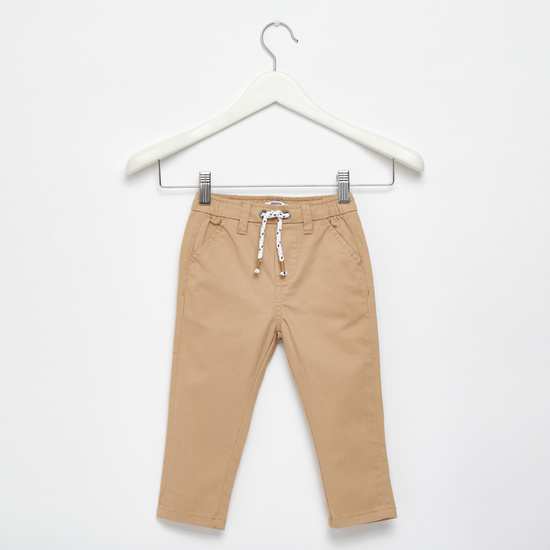 Solid Stretch Chinos with Pockets and Drawstring
