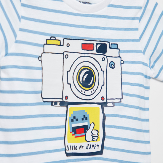 Camera Print Striped T-shirt with Round Neck and Short Sleeves