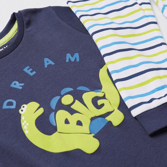 Graphic Print Short Sleeves T-shirt and Striped Pyjama Set
