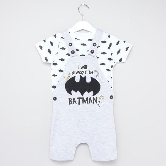 Batman Print Round Neck T-shirt and Dungaree Set