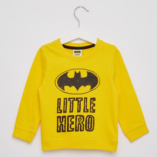 Batman Print Round Neck T-shirt with Cuffed Hem Joggers