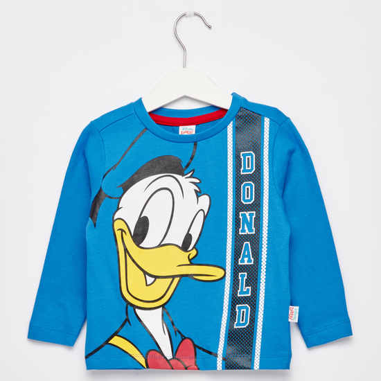 Donald Duck Print T-shirt with Round Neck and Long Sleeves