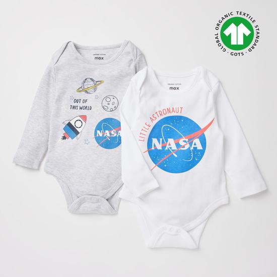 Set of 2 - NASA Print GOTS Organic Cotton Bodysuit with Long Sleeves