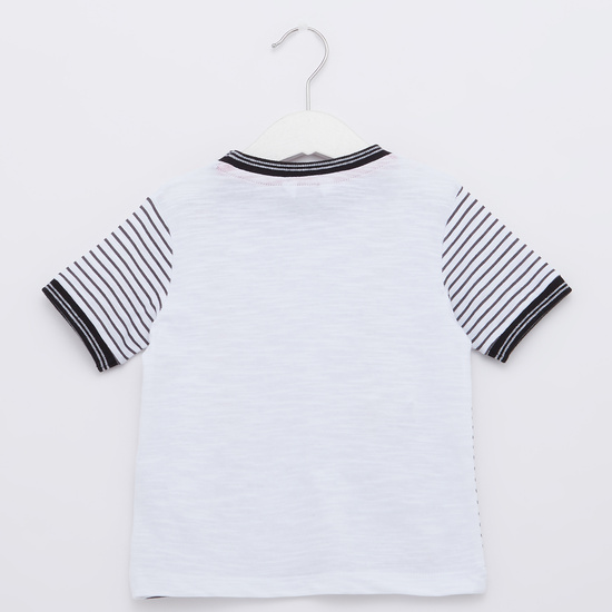 Striped Round Neck T-shirt with Solid Shorts