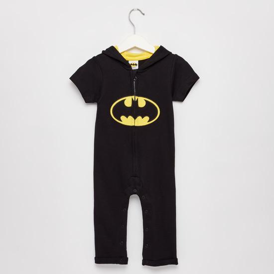 Batman Print Hooded Romper with Short Sleeves