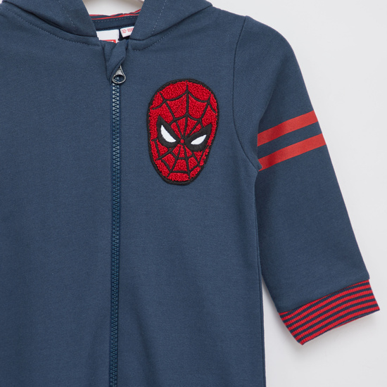 Spider-Man Embroidered Romper with Long Sleeves and Hood
