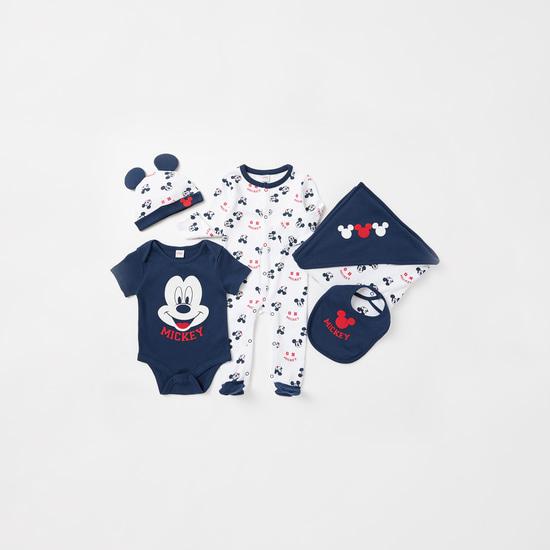 طقم هدايا ملابس أطفال من القطن العضوي 5 قطع بطبعات ميكي ماوس