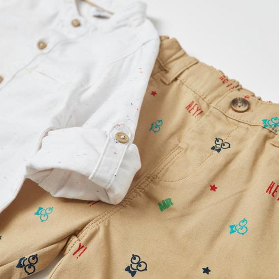 طقم قميص بأكمام طويلة وطبعات مع شورت منسوج