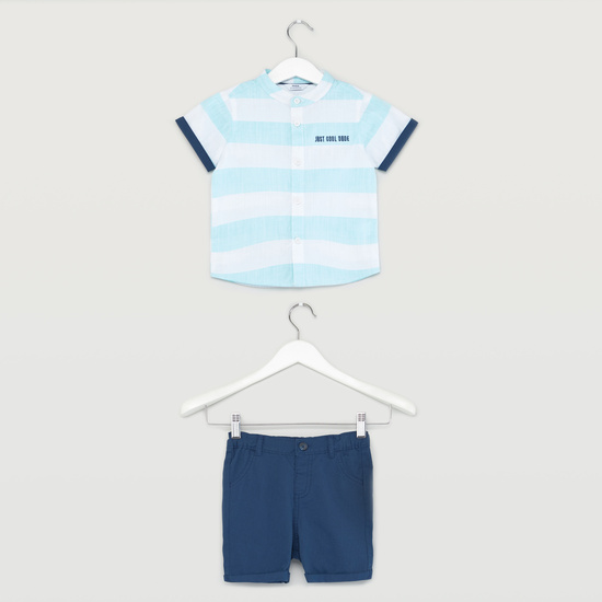Striped Shirt with Placement Embroidery and Short Sleeves