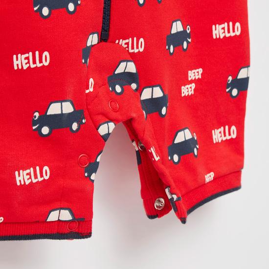 Cars Print Sleeveless Romper with Hood