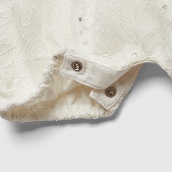 Lace Foil Round Neck Romper with Button Closure
