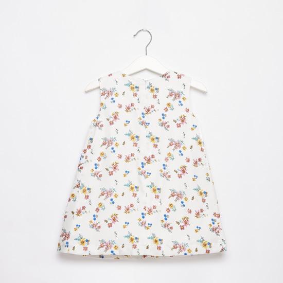فستان دون أكمام بطول الركبة بياقة مستديرة وطبعات زهرية