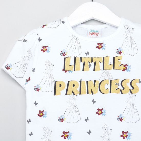 Disney Princess Print T-shirt with Round Neck and Cap Sleeves
