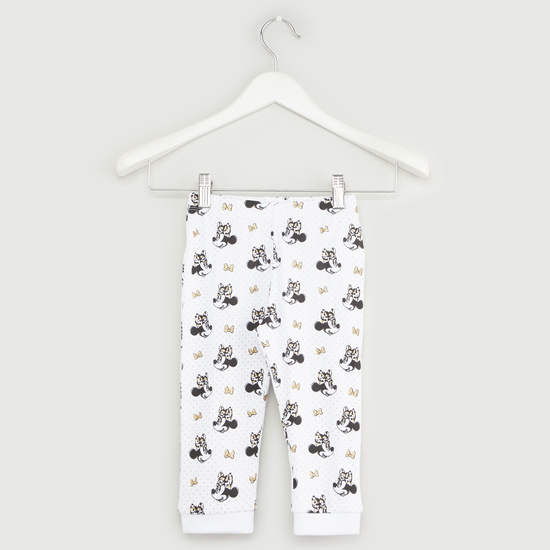 Minnie Mouse Print Short Sleeves T-shirt with Full Length Jog Pants