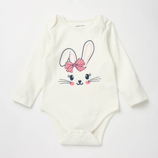Set of 3 - Printed GOTS Organic Cotton Bodysuit with Long Sleeves