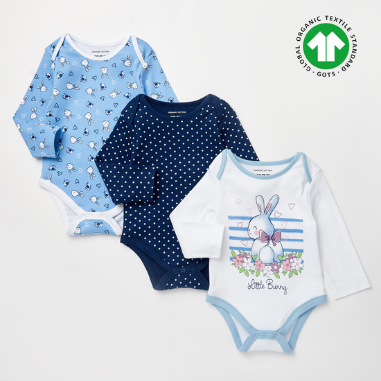 Set of 3 - Printed GOTS Organic Cotton Bodysuits with Long Sleeves