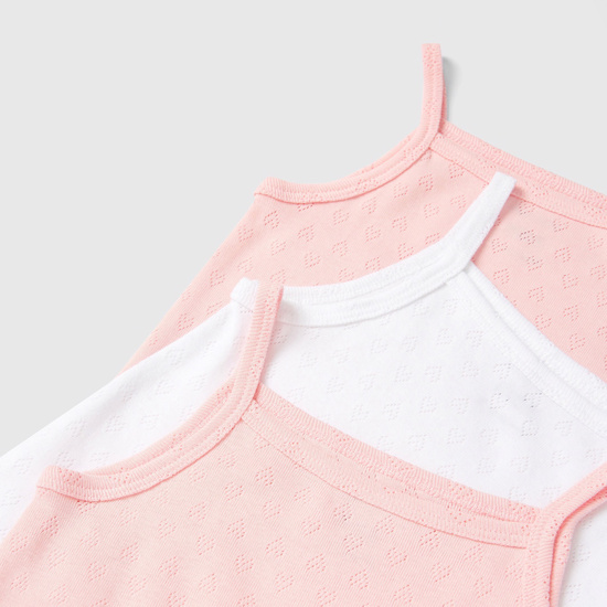 Set of 7 - Textured Sleeveless Bodysuit with Press Button Closure