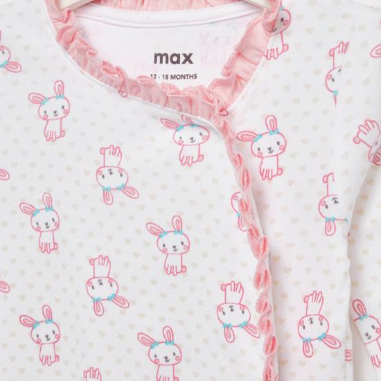 Bunny Print Long Sleeves Sleepsuit with Cap