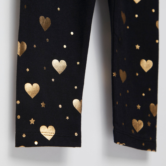 Heart Foil Print Leggings with Elasticised Waistband