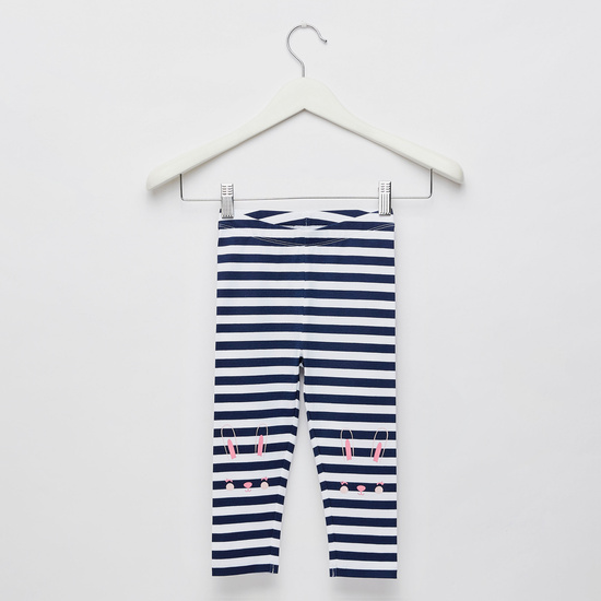 Striped Leggings with Bunny Knee Print and Elasticised Waistband