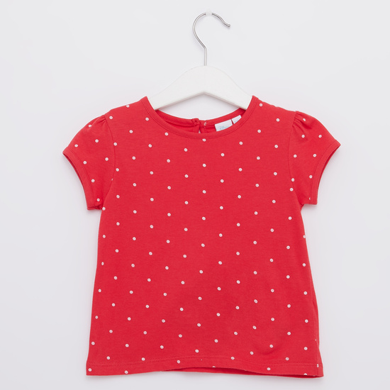 Minnie Mouse Print Round Neck T-shirt with Dungarees