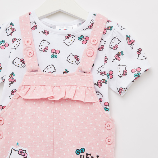 All-Over Hello Kitty Print T-shirt with Dungarees