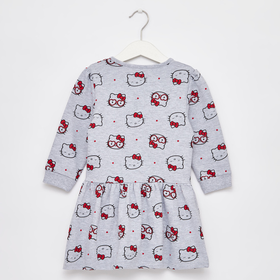Hello Kitty Print Dress with Long Sleeves