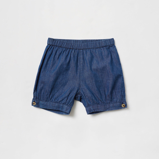 Embroidered Detail Top with Solid Denim Shorts