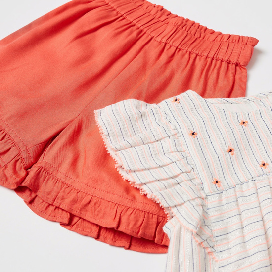 Striped Cap Sleeves Top and Solid Shorts Set