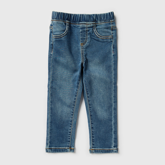 Comfort Fit Full Length Jeans with Elasticated Waistband and Pockets