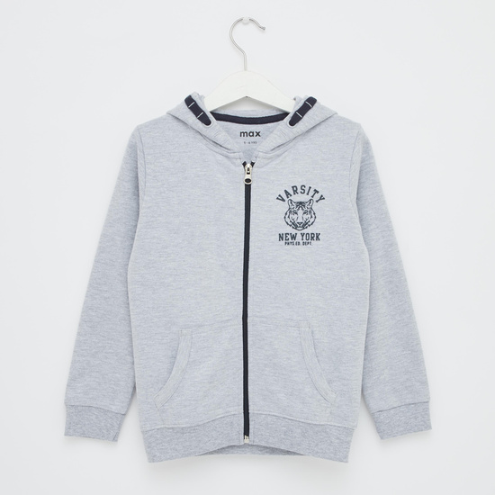 Logo Print Anti-Pilling Jacket with Hood and Long Sleeves