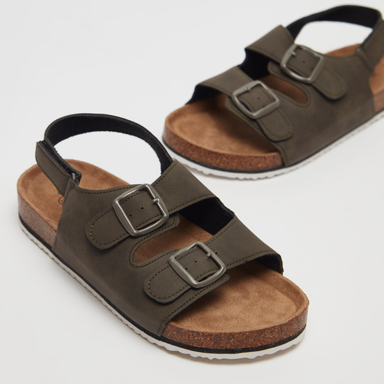 Solid Buckle Accent Sandals with Hook and Loop Closure