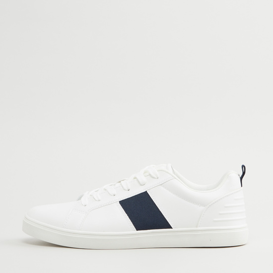Stitch Detail Shoes with Lace-Up Closure and Pull Tab