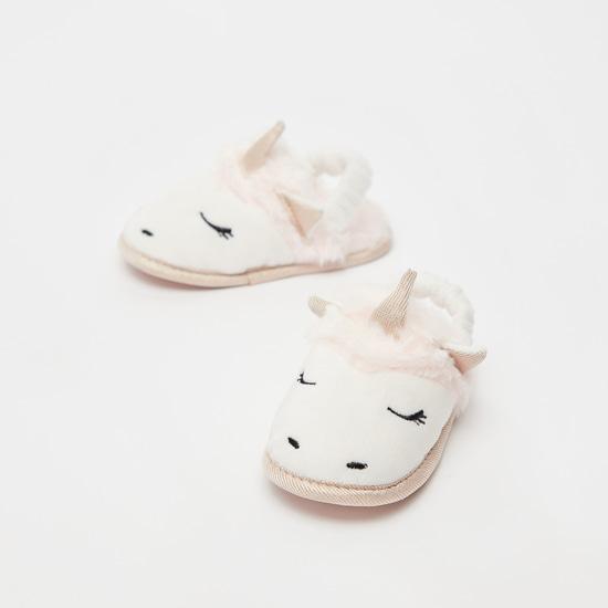 Plush Detail Unicorn Applique Bedroom Slippers