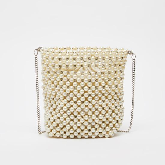 Pearl Detail Crossbody Bag with Metallic Chain
