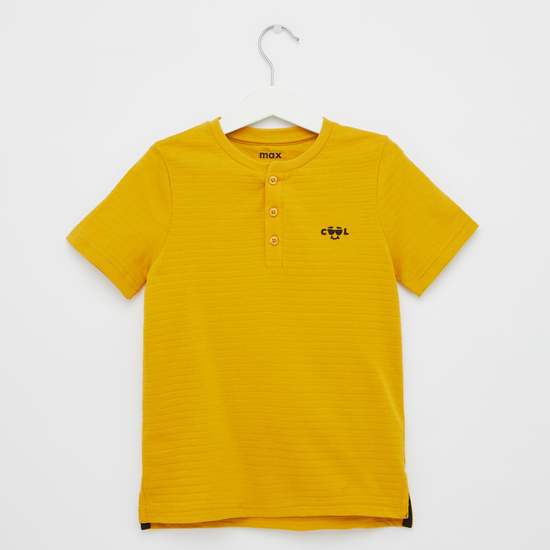Textured T-shirt with Henley Neck and Short Sleeves
