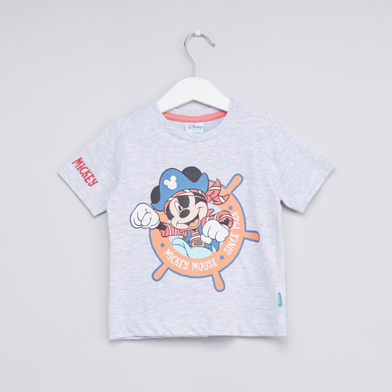 Mickey Mouse Printed T-shirt with Round Neck and Short Sleeves