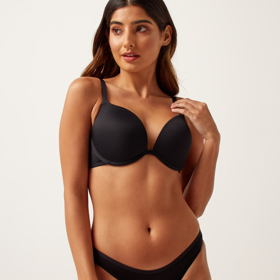Solid Push Up Bra with Adjustable Straps