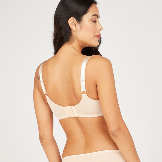 Lace Detail Basic Bra with Hook and Eye Closure