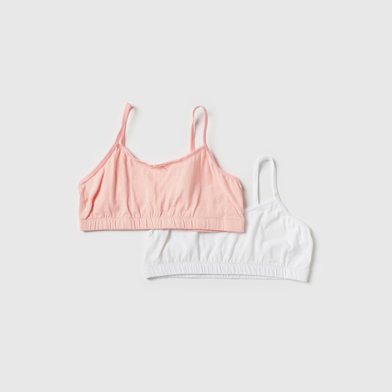 Set of 2 - Solid Bra with Bow Applique