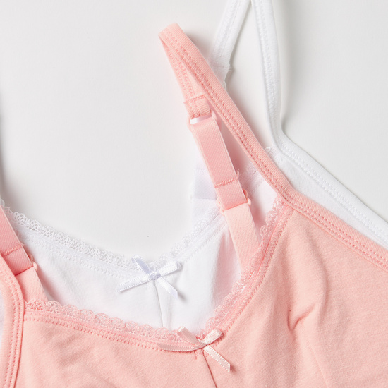 Set of 2 - Solid Bra with Lace Trim