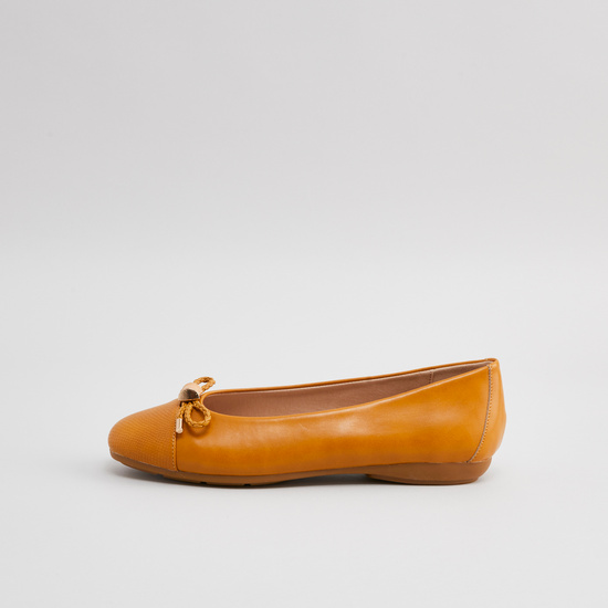 Textured Slip-On Ballerina with Bow Detail