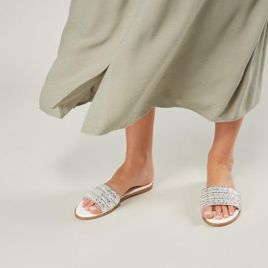 Flat Heel Slides with Embellished Strap