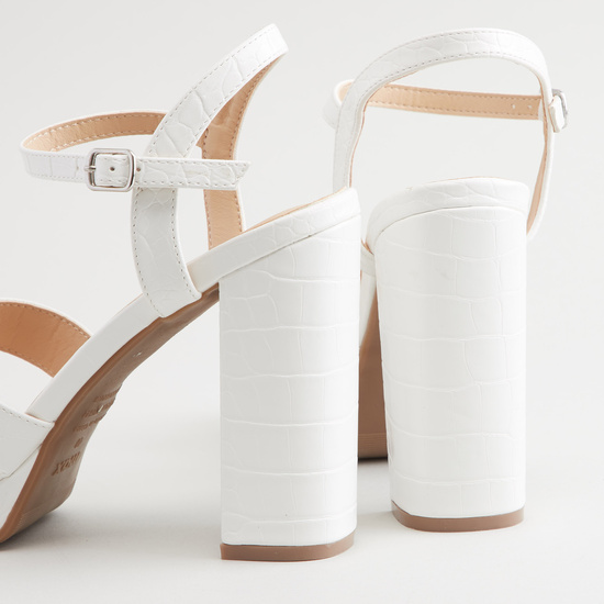 Cross Strap Sandals with Block Heels and Pin Buckle Closure