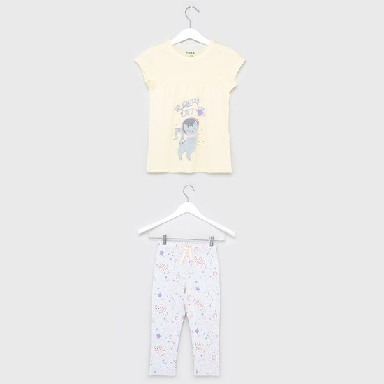 Print Round Neck T-shirt and Pyjama Set