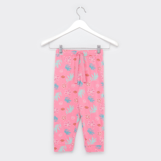 Floral Print Round Neck T-shirt with Full Length Jog Pants