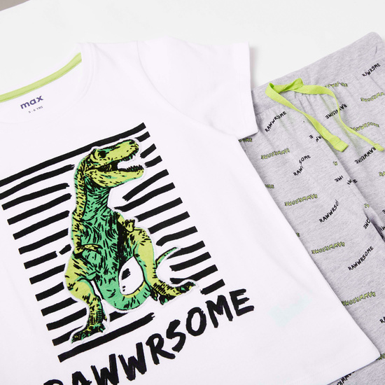 Dinosaur Graphic Print Short Sleeves T-shirt and Pyjama Set