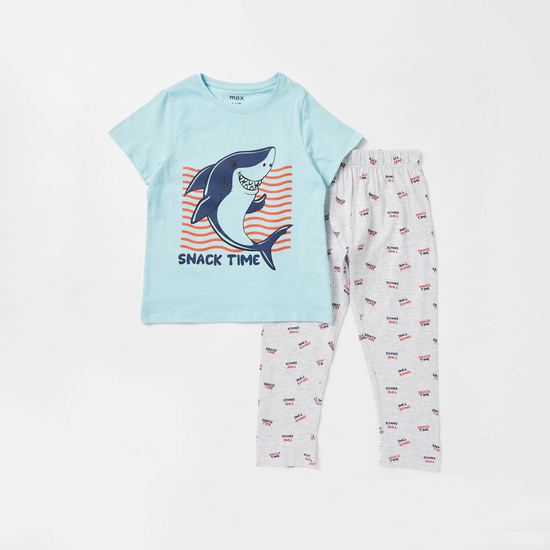 Sea Shark Print T-shirt and Full Length Pyjama Set