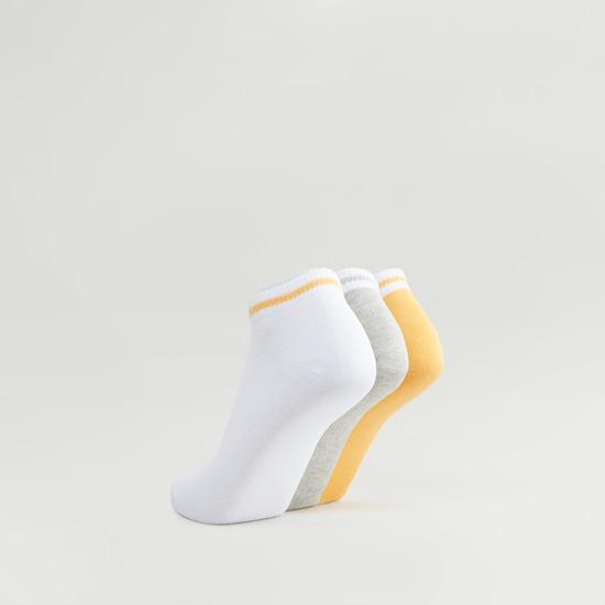 Set of 3 - Ankle Length Socks with Striped Hem