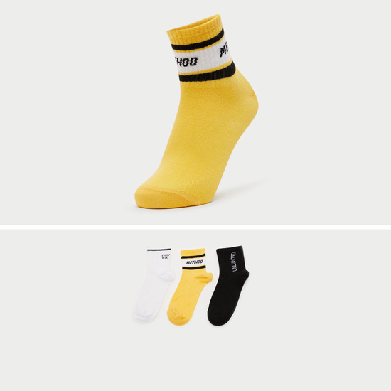 Set of 3 - Embroidered Ankle Length Socks